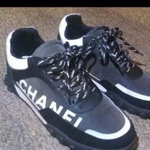 CHANEL Shoes - Chanel white logo sneaker